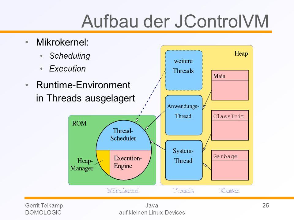 Gerrit Telkamp DOMOLOGIC Java auf kleinen Linux-Devices 25 Aufbau der JControlVM Mikrokernel: Scheduling Execution Runtime-Environment in Threads ausg