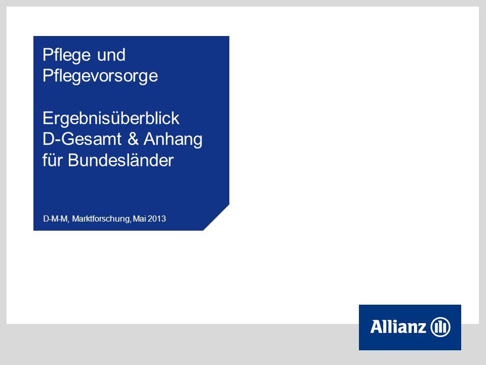 2 © Allianz D-M-M,Marktforschung, Mai 2013 Untersuchungsdesign Methode: Online-Befragung Zielgruppe:in Deutschland lebende Personen im Alter von 30 bis 60 Jahren (repräsentative Verteilung) Stichprobe: n = 3.000 (disproportional über die Bundesländer verteilt) Interviewdauer: 15 Minuten (inkl.