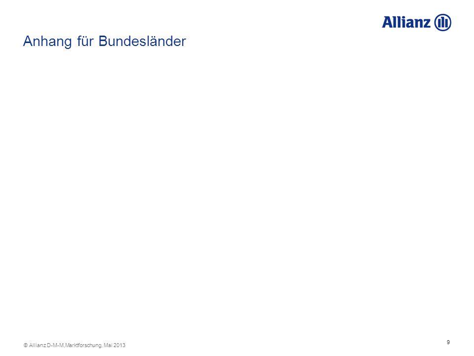 9 © Allianz D-M-M,Marktforschung, Mai 2013 Anhang für Bundesländer