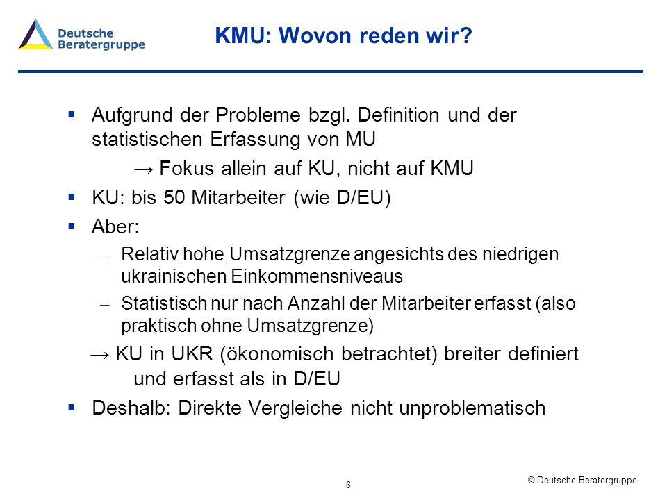 © Deutsche Beratergruppe Ökonomische Relevanz der KU im Vergleich 7 Anteil der KU anUkraineDeutschlandEU 27 Unternehmen93,7%97,2%98,7% Beschäftigung25,3%41,1%50,4% Wertschöpfungk.A.33,5%39,9% Interpretation: Trotz breiterer Definition: Deutliche geringere ökonomische Bedeutung von KU in UKR als in D/EU Allerdings: Sonderfaktoren (hohe Zahl von Einzelunternehmen, Schwarzarbeit, etc.) könnten einen Teil der Differenz erklären Quelle: Staatliches Statistisches Komitee der Ukraine, Europäische Kommission, Daten für 2009 Anmerkung: Zahlen inklusive Einzelunternehmer