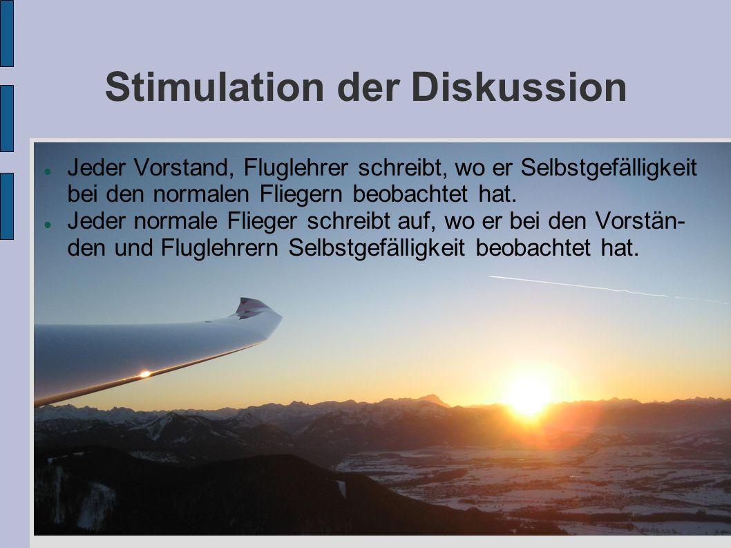 Stimulation der Diskussion Jeder Vorstand, Fluglehrer schreibt, wo er Selbstgefälligkeit bei den normalen Fliegern beobachtet hat. Jeder normale Flieg