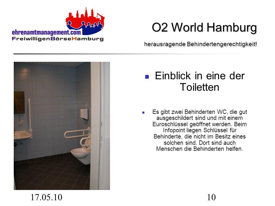 17.05.1010 Einblick in eine der Toiletten Es gibt zwei Behinderten WC, die gut ausgeschildert sind und mit einem Euroschlüssel geöffnet werden.