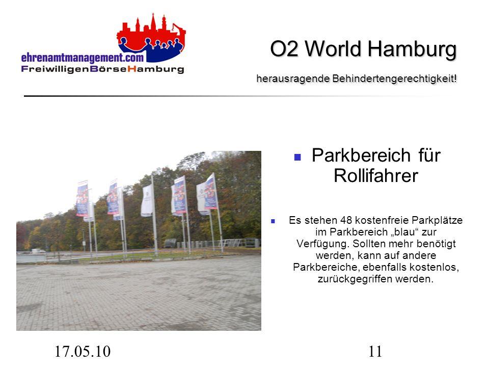 17.05.1011 Parkbereich für Rollifahrer Es stehen 48 kostenfreie Parkplätze im Parkbereich blau zur Verfügung. Sollten mehr benötigt werden, kann auf a