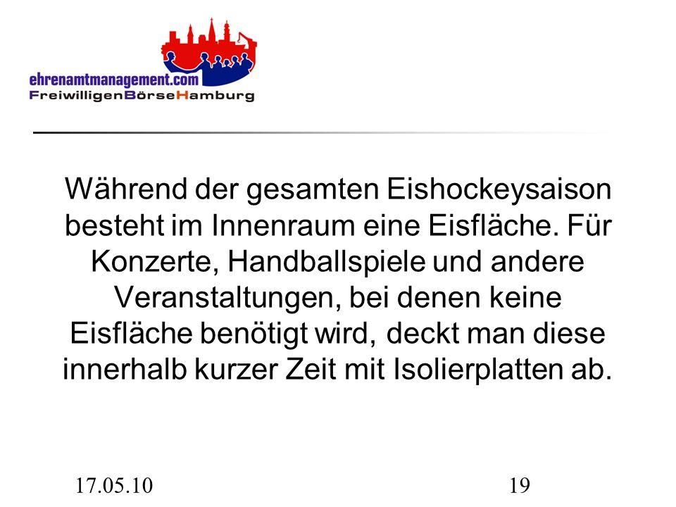 17.05.1019 Während der gesamten Eishockeysaison besteht im Innenraum eine Eisfläche.