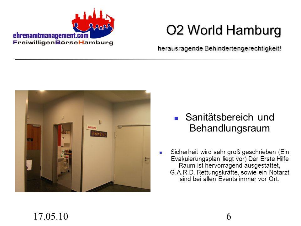 17.05.106 Sanitätsbereich und Behandlungsraum Sicherheit wird sehr groß geschrieben (Ein Evakuierungsplan liegt vor) Der Erste Hilfe Raum ist hervorra