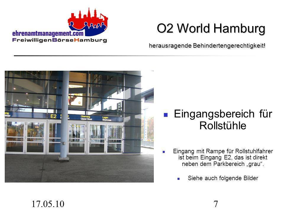 17.05.107 Eingangsbereich für Rollstühle Eingang mit Rampe für Rollstuhlfahrer ist beim Eingang E2, das ist direkt neben dem Parkbereich grau.