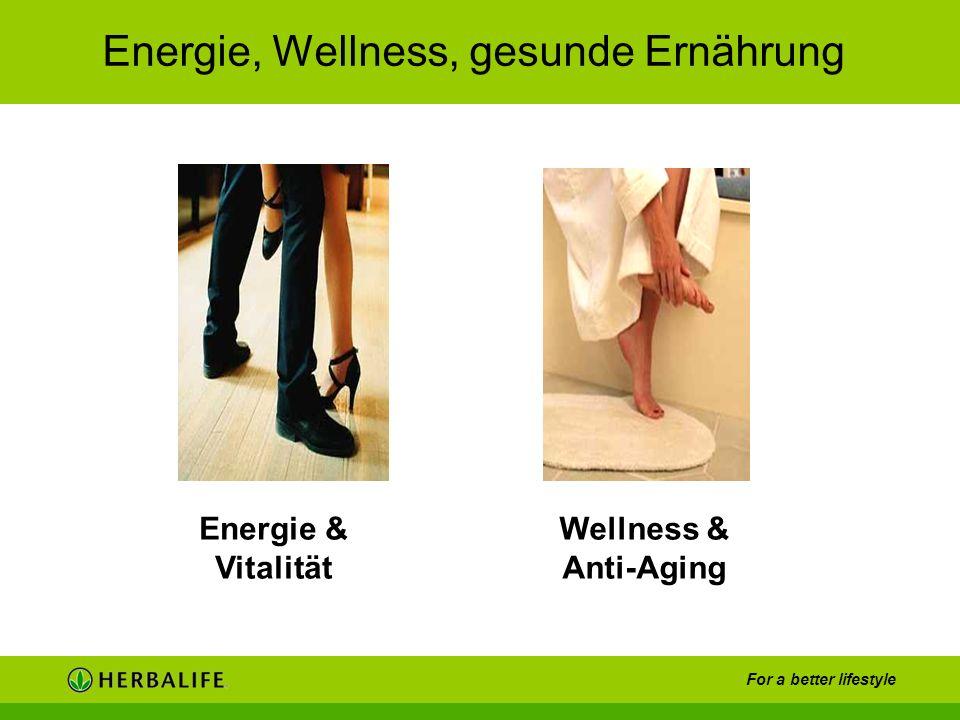 For a better lifestyle Energie, Wellness, gesunde Ernährung Energie & Vitalität Wellness & Anti-Aging