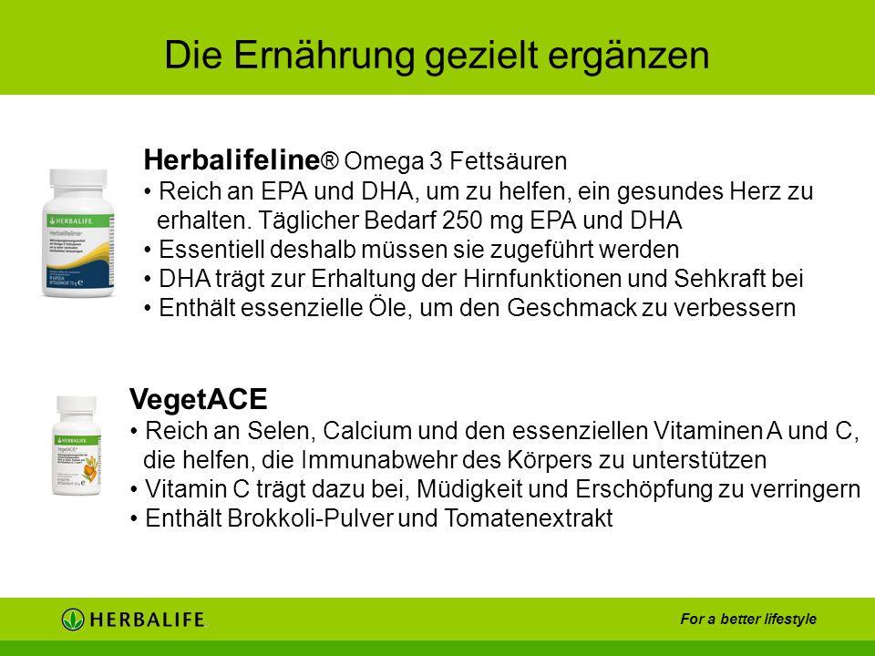 For a better lifestyle Die Ernährung gezielt ergänzen Herbalifeline ® Omega 3 Fettsäuren Reich an EPA und DHA, um zu helfen, ein gesundes Herz zu erha