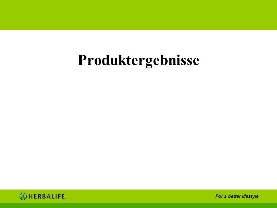 For a better lifestyle Produktergebnisse