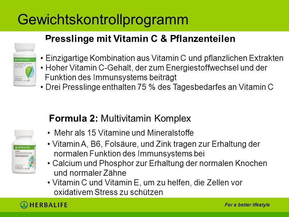 For a better lifestyle Gewichtskontrollprogramm Presslinge mit Vitamin C & Pflanzenteilen Mehr als 15 Vitamine und Mineralstoffe Vitamin A, B6, Folsäu