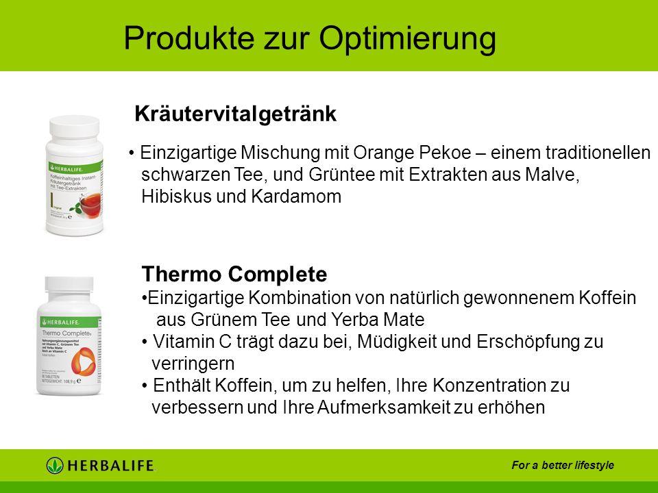For a better lifestyle Produkte zur Optimierung Einzigartige Mischung mit Orange Pekoe – einem traditionellen schwarzen Tee, und Grüntee mit Extrakten