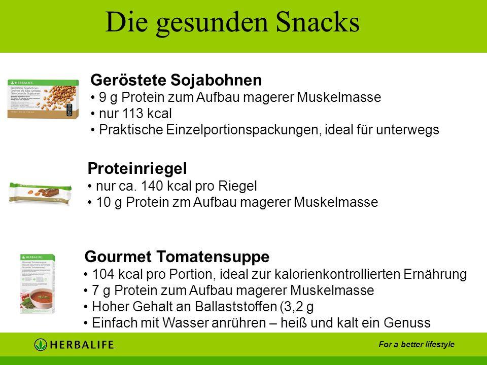 For a better lifestyle Die gesunden Snacks Gourmet Tomatensuppe 104 kcal pro Portion, ideal zur kalorienkontrollierten Ernährung 7 g Protein zum Aufba