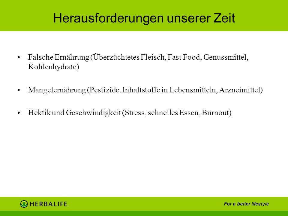 For a better lifestyle Herausforderungen unserer Zeit Falsche Ernährung (Überzüchtetes Fleisch, Fast Food, Genussmittel, Kohlenhydrate) Mangelernährun