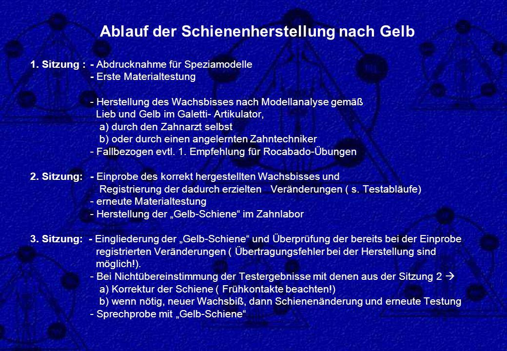 1. Sitzung : - Abdrucknahme für Speziamodelle - Erste Materialtestung - Herstellung des Wachsbisses nach Modellanalyse gemäß Lieb und Gelb im Galetti-