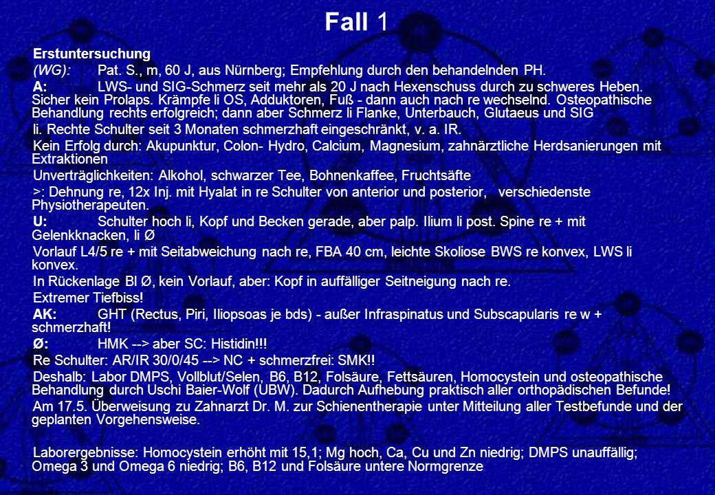 Fall 1 Erstuntersuchung (WG):Pat. S., m, 60 J, aus Nürnberg; Empfehlung durch den behandelnden PH. A: LWS- und SIG-Schmerz seit mehr als 20 J nach Hex