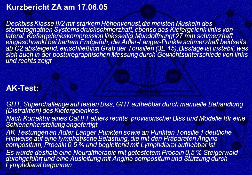 Kurzbericht ZA am 17.06.05 Deckbiss Klasse II/2 mit starkem Höhenverlust,die meisten Muskeln des stomatognathen Systems druckschmerzhaft, ebenso das K