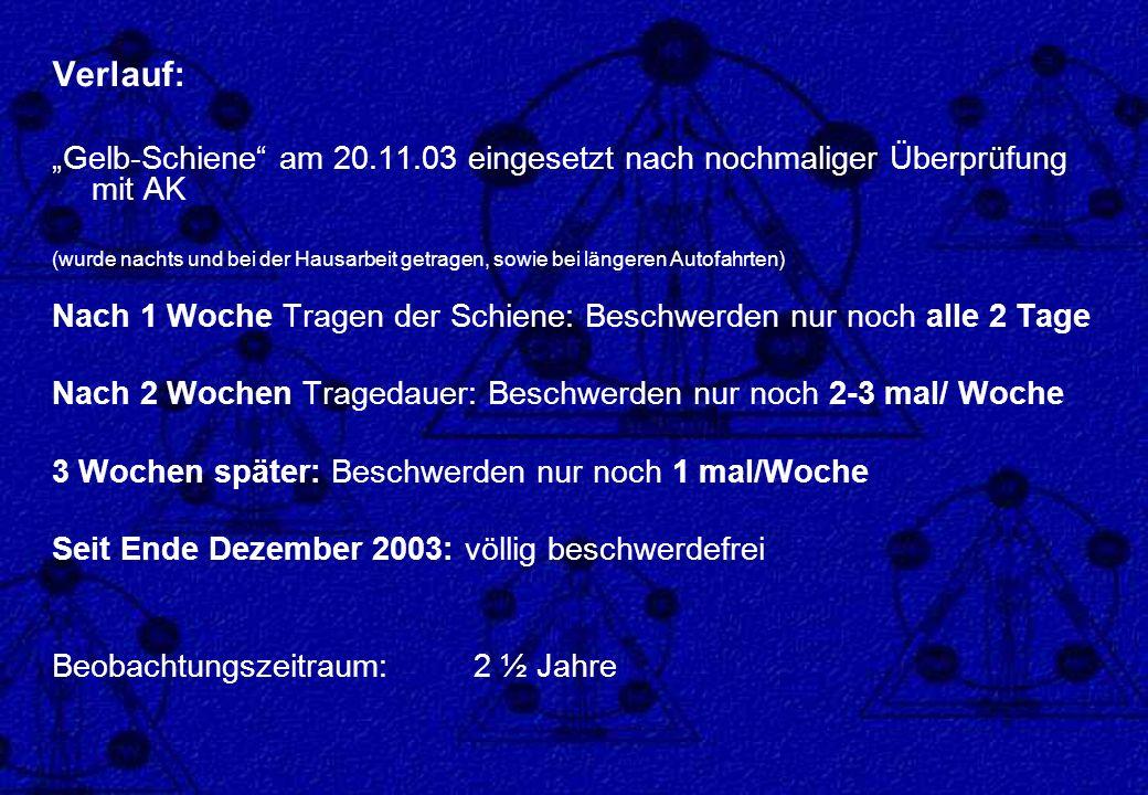 Verlauf: Gelb-Schiene am 20.11.03 eingesetzt nach nochmaliger Überprüfung mit AK (wurde nachts und bei der Hausarbeit getragen, sowie bei längeren Aut