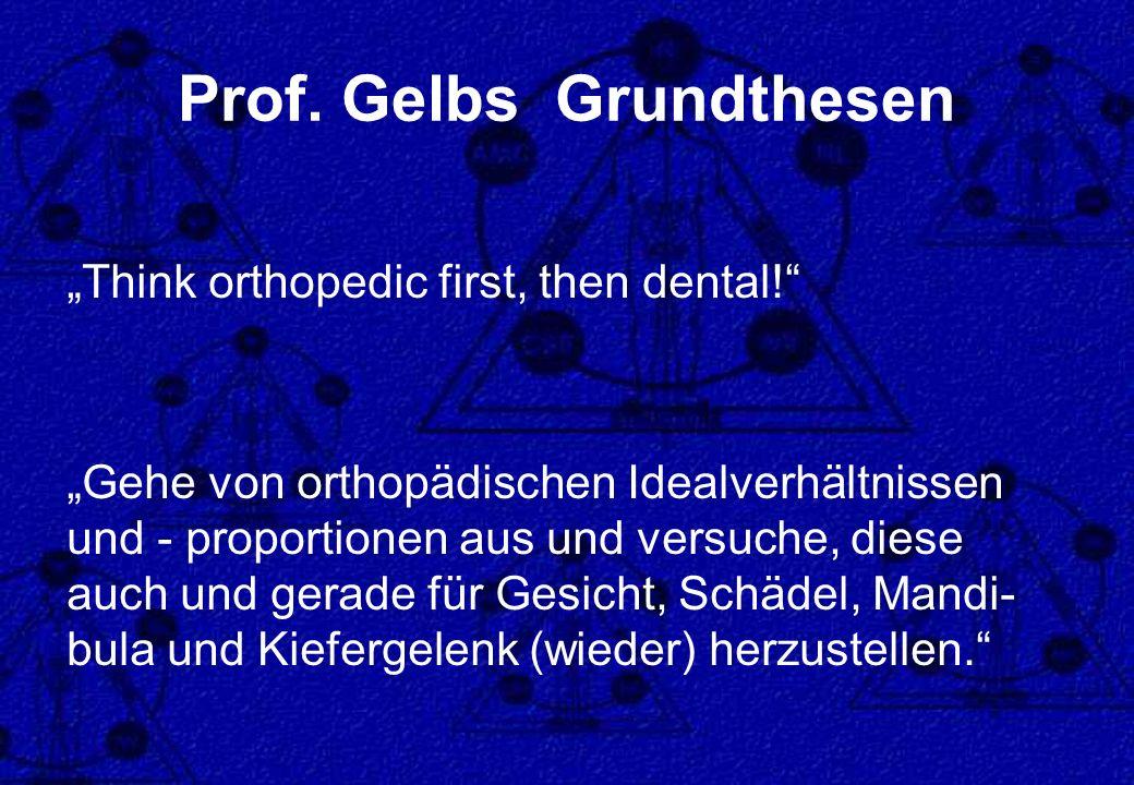 Prof. Gelbs Grundthesen Think orthopedic first, then dental! Gehe von orthopädischen Idealverhältnissen und - proportionen aus und versuche, diese auc