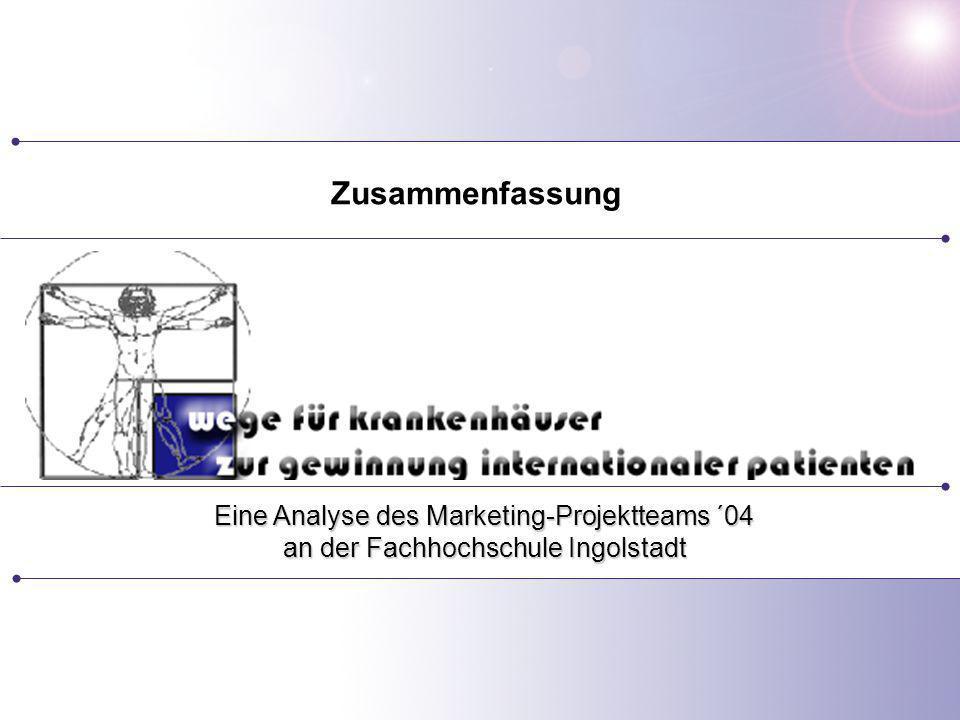 Referent: Betreuung: Prof. Dr. Andrea Raab Eine Analyse des Marketing-Projektteams ´04 an der Fachhochschule Ingolstadt Zusammenfassung