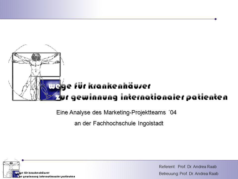 Referent: Betreuung: Prof. Dr. Andrea Raab Prof. Dr. Andrea Raab Eine Analyse des Marketing-Projektteams ´04 an der Fachhochschule Ingolstadt