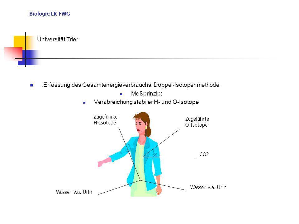 Biologie LK FWG Universität Trier. Erfassung des Gesamtenergieverbrauchs: Doppel-Isotopenmethode. Meßprinzip: Verabreichung stabiler H- und O-Isotope