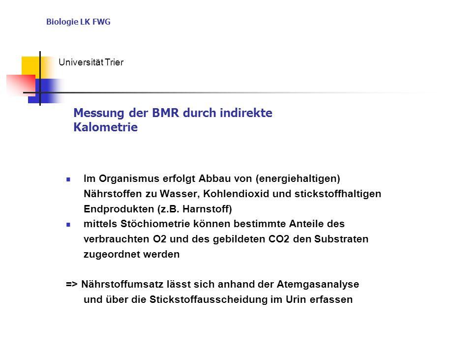 Biologie LK FWG Universität Trier Im Organismus erfolgt Abbau von (energiehaltigen) Nährstoffen zu Wasser, Kohlendioxid und stickstoffhaltigen Endprodukten (z.B.