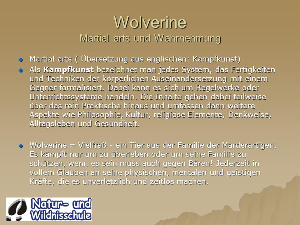 Wolverine Martial arts und Wahrnehmung Martial arts ( Übersetzung aus englischen: Kampfkunst) Martial arts ( Übersetzung aus englischen: Kampfkunst) Als Kampfkunst bezeichnet man jedes System, das Fertigkeiten und Techniken der körperlichen Auseinandersetzung mit einem Gegner formalisiert.