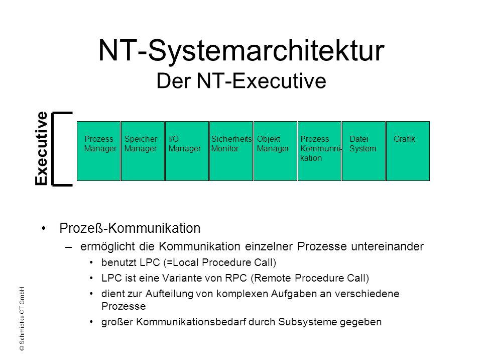 © Schmidtke CT GmbH NT-Systemarchitektur Der NT-Executive Prozeß-Kommunikation –ermöglicht die Kommunikation einzelner Prozesse untereinander benutzt