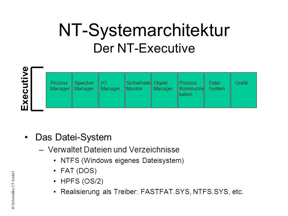 © Schmidtke CT GmbH NT-Systemarchitektur Der NT-Executive Das Datei-System –Verwaltet Dateien und Verzeichnisse NTFS (Windows eigenes Dateisystem) FAT
