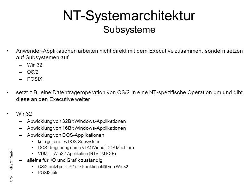 © Schmidtke CT GmbH Anwender-Applikationen arbeiten nicht direkt mit dem Executive zusammen, sondern setzen auf Subsystemen auf –Win 32 –OS/2 –POSIX s