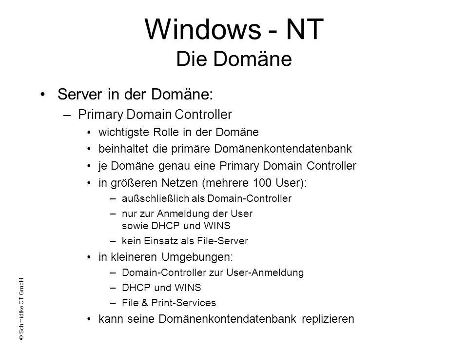 © Schmidtke CT GmbH Windows - NT Die Domäne Server in der Domäne: –Primary Domain Controller wichtigste Rolle in der Domäne beinhaltet die primäre Dom
