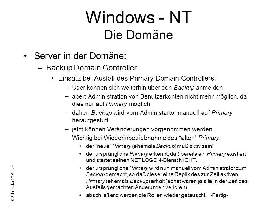 © Schmidtke CT GmbH Windows - NT Die Domäne Server in der Domäne: –Backup Domain Controller Einsatz bei Ausfall des Primary Domain-Controllers: –User