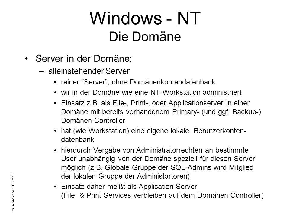 © Schmidtke CT GmbH Windows - NT Die Domäne Server in der Domäne: –alleinstehender Server reiner Server, ohne Domänenkontendatenbank wir in der Domäne