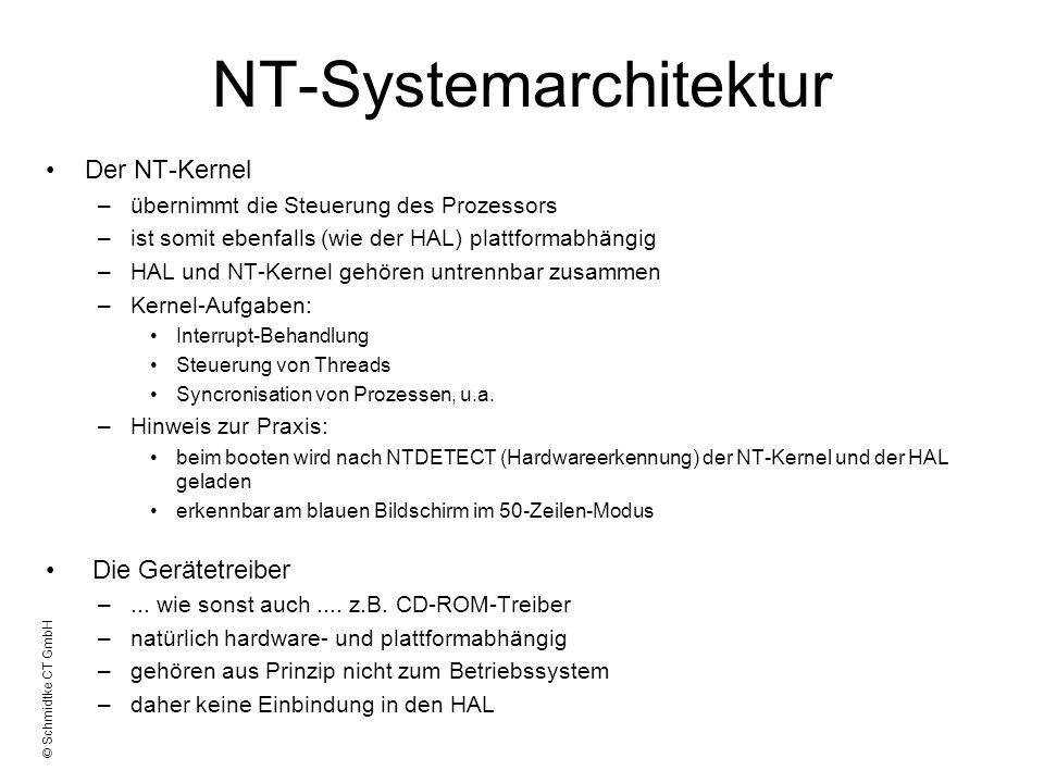 © Schmidtke CT GmbH NT-Systemarchitektur Der NT-Kernel –übernimmt die Steuerung des Prozessors –ist somit ebenfalls (wie der HAL) plattformabhängig –H