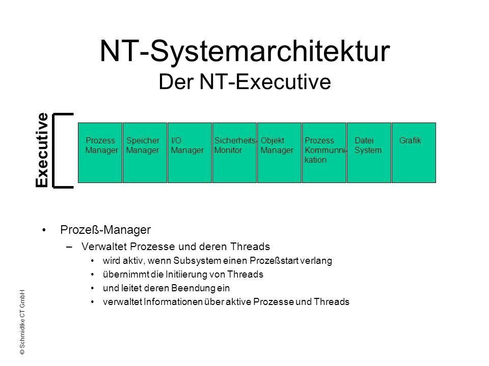 © Schmidtke CT GmbH NT-Systemarchitektur Der NT-Executive I/O-Manager –Der Ein-Ausgabe-Manager stellt den Subsystemen eine einheitliche Schnittstelle für die Ein- und Ausgabe von Daten zur Verfügung –sorgt somit für Geräteunabhängigkeit –beinhaltet den Cache-Manager –direkt mit Hardware-Treiber gekoppelt Dateisystemtreiber (z.B.
