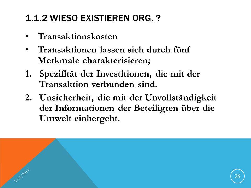 1.1.2 WIESO EXISTIEREN ORG. ? Transaktionskosten Transaktionen lassen sich durch fünf Merkmale charakterisieren; 1.Spezifität der Investitionen, die m