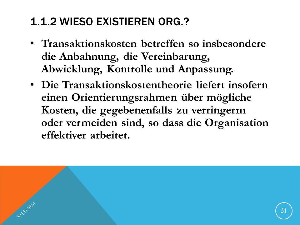 1.1.2 WIESO EXISTIEREN ORG.? Transaktionskosten betreffen so insbesondere die Anbahnung, die Vereinbarung, Abwicklung, Kontrolle und Anpassung. Die Tr