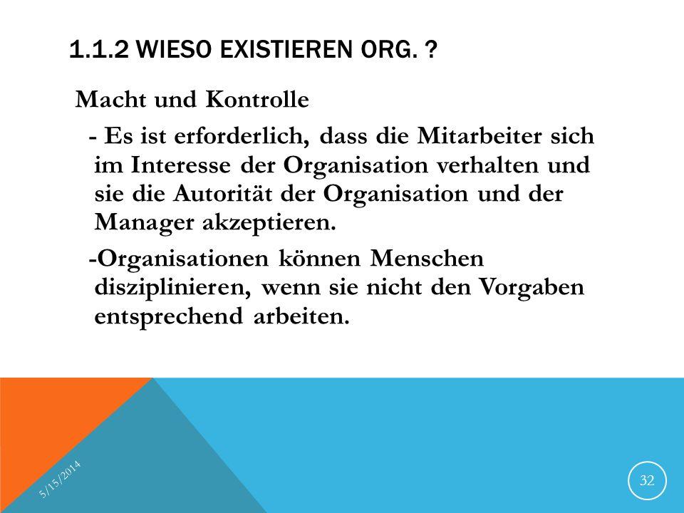 1.1.2 WIESO EXISTIEREN ORG. ? Macht und Kontrolle - Es ist erforderlich, dass die Mitarbeiter sich im Interesse der Organisation verhalten und sie die