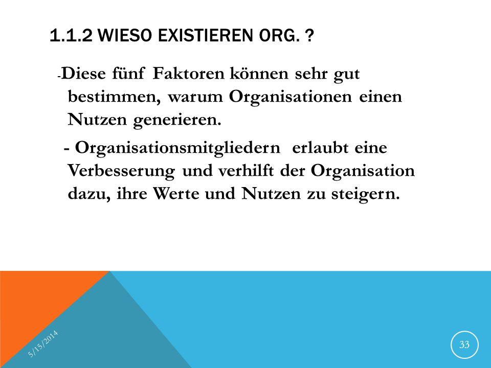 1.1.2 WIESO EXISTIEREN ORG. ? - Diese fünf Faktoren können sehr gut bestimmen, warum Organisationen einen Nutzen generieren. - Organisationsmitglieder