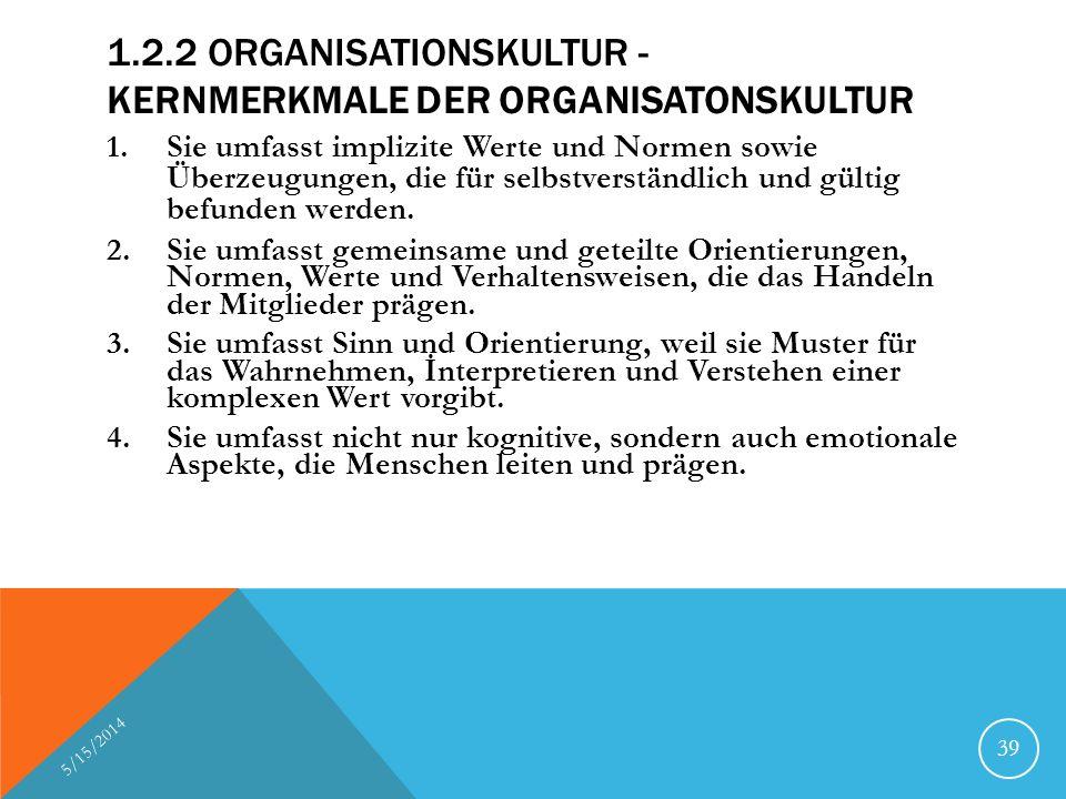 1.2.2 ORGANISATIONSKULTUR - KERNMERKMALE DER ORGANISATONSKULTUR 1.Sie umfasst implizite Werte und Normen sowie Überzeugungen, die für selbstverständli