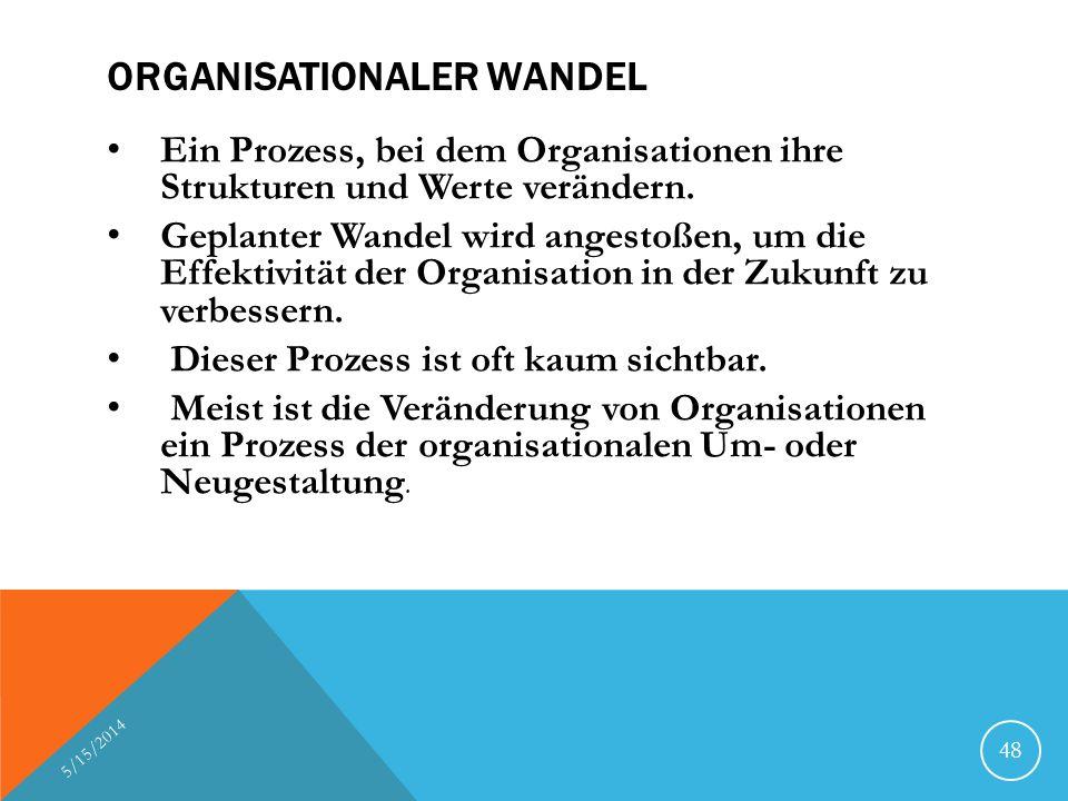 ORGANISATIONALER WANDEL Ein Prozess, bei dem Organisationen ihre Strukturen und Werte verändern. Geplanter Wandel wird angestoßen, um die Effektivität