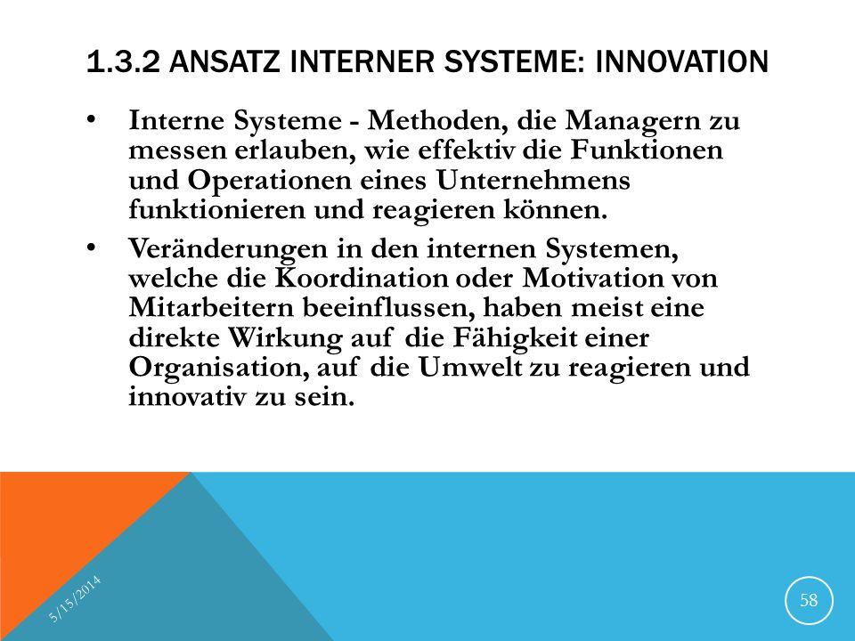 1.3.2 ANSATZ INTERNER SYSTEME: INNOVATION Interne Systeme - Methoden, die Managern zu messen erlauben, wie effektiv die Funktionen und Operationen ein