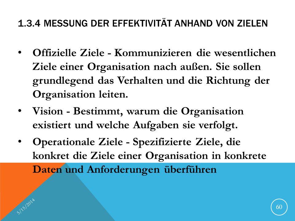 1.3.4 MESSUNG DER EFFEKTIVITÄT ANHAND VON ZIELEN Offizielle Ziele - Kommunizieren die wesentlichen Ziele einer Organisation nach außen. Sie sollen gru