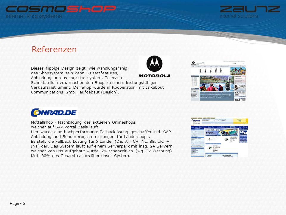 Page 5 Referenzen Dieses flippige Design zeigt, wie wandlungsfähig das Shopsystem sein kann.
