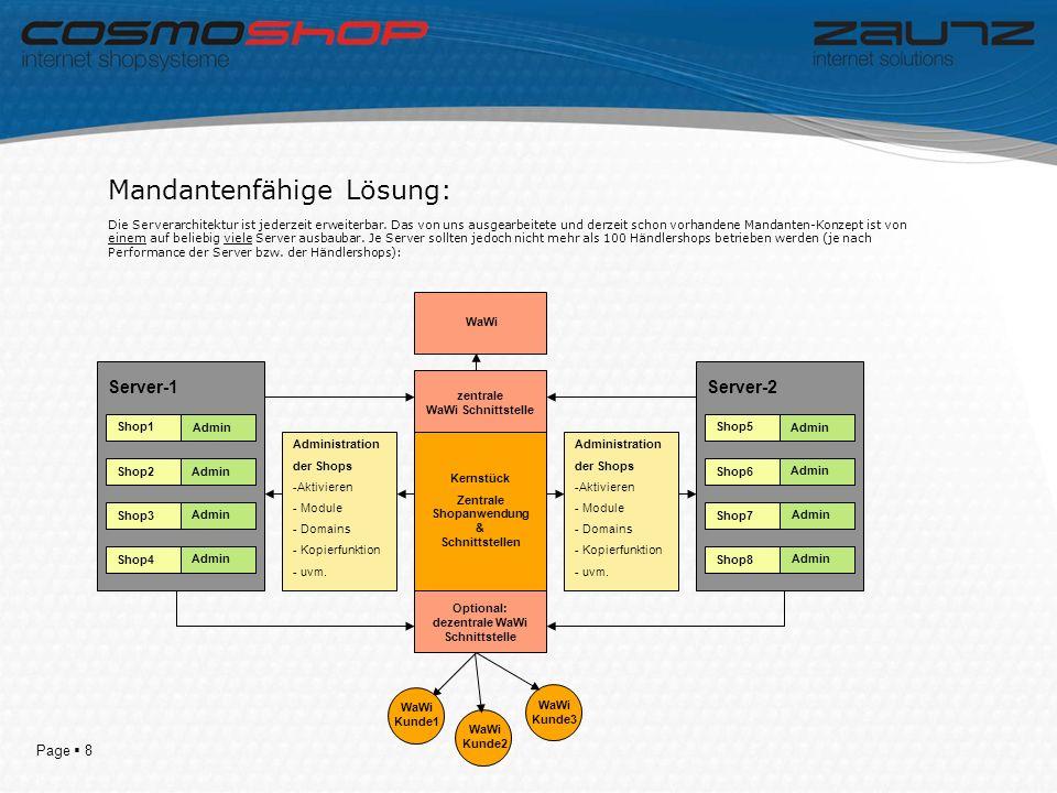 Page 8 Mandantenfähige Lösung: Die Serverarchitektur ist jederzeit erweiterbar.