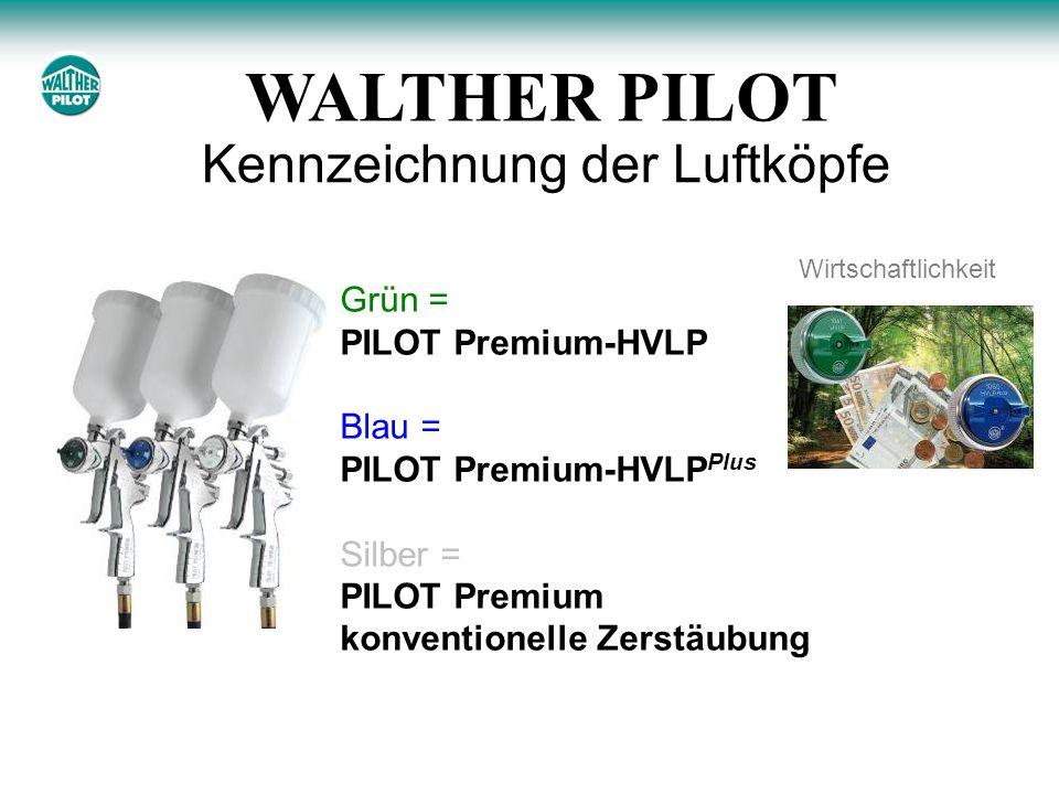 Kennzeichnung der Luftköpfe Grün = PILOT Premium-HVLP Blau = PILOT Premium-HVLP Plus Silber = PILOT Premium konventionelle Zerstäubung Wirtschaftlichkeit WALTHER PILOT