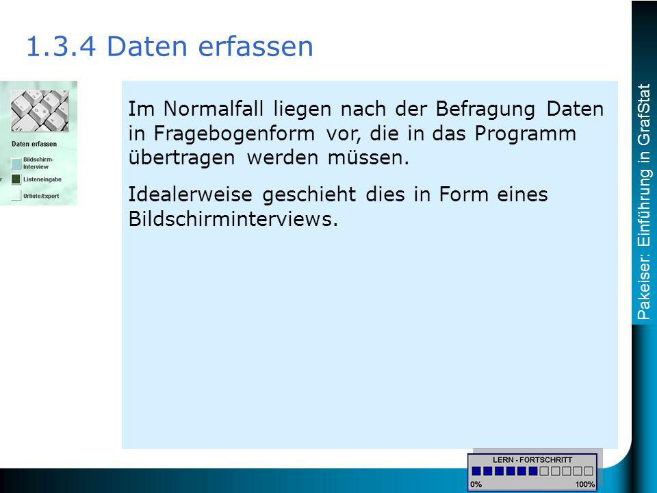 Pakeiser: Einführung in GrafStat Im Normalfall liegen nach der Befragung Daten in Fragebogenform vor, die in das Programm übertragen werden müssen.