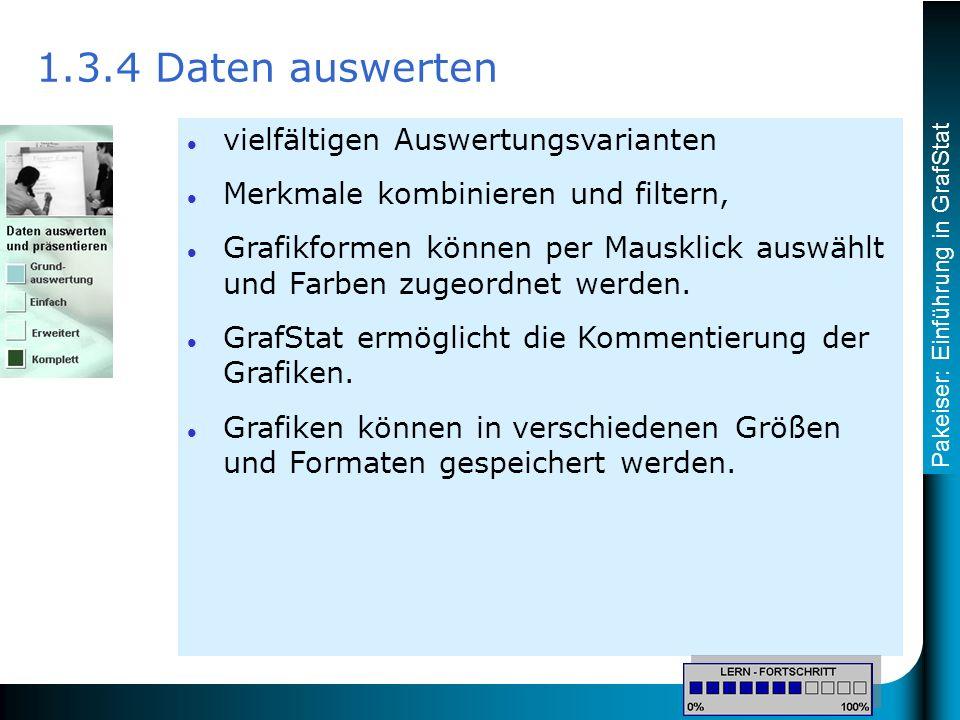 Pakeiser: Einführung in GrafStat 1.3.4 Daten auswerten vielfältigen Auswertungsvarianten Merkmale kombinieren und filtern, Grafikformen können per Mausklick auswählt und Farben zugeordnet werden.
