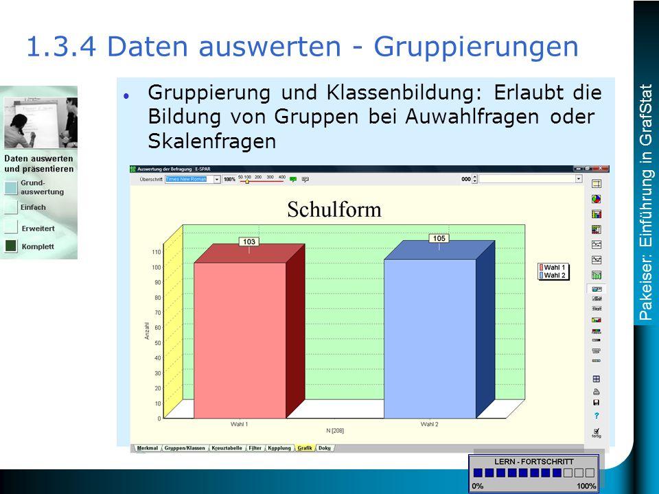 Pakeiser: Einführung in GrafStat Gruppierung und Klassenbildung: Erlaubt die Bildung von Gruppen bei Auwahlfragen oder Skalenfragen 1.3.4 Daten auswerten - Gruppierungen Die Karte Gruppen/Klassen wird geöffnet.