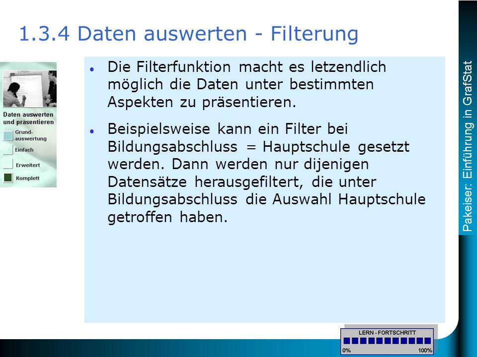 Pakeiser: Einführung in GrafStat Die Filterfunktion macht es letzendlich möglich die Daten unter bestimmten Aspekten zu präsentieren.